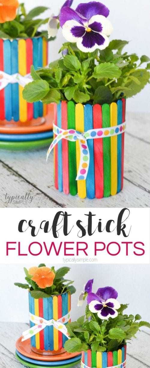 Easy Popsicle Stick Crafts featured by top US craft blog: craft stick flower pots