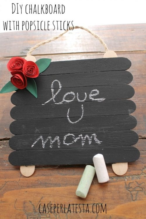 Easy Popsicle Stick Crafts featured by top US craft blog: popsicle sticks chalkboard