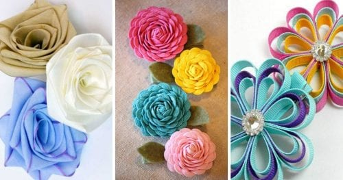 Top 15 Easy Ribbon Flowers featured by top US craft blog, The Crafty Blog Stalker