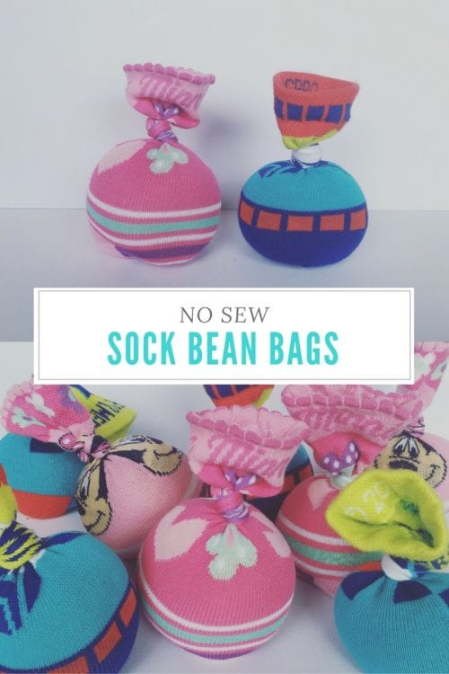 20 Sock Craft Ideas to make with Mismatched Socks featured by top US craft blog, The Crafty Blog Stalker: no-sew sock bean bags