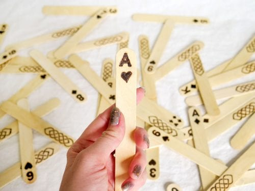 Easy Popsicle Stick Crafts featured by top US craft blog: popsicle sticks playing cards