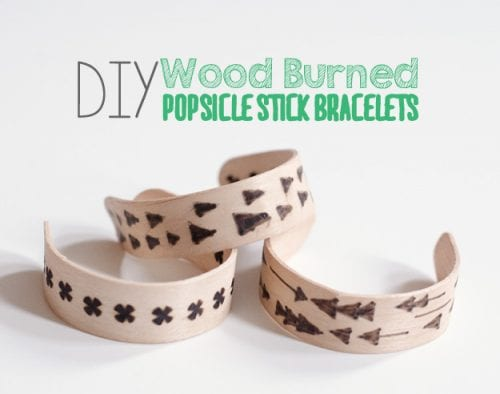 Easy wood burning crafts featured by top US craft blog, The Crafty Blog Stalker: image of popsicle stick bracelets