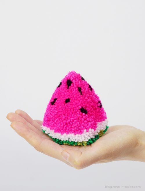 Top 20 Fun Watermelon Craft Ideas Perfect for Summer featured by top US craft blog, The Crafty Blog Stalker: pom pom