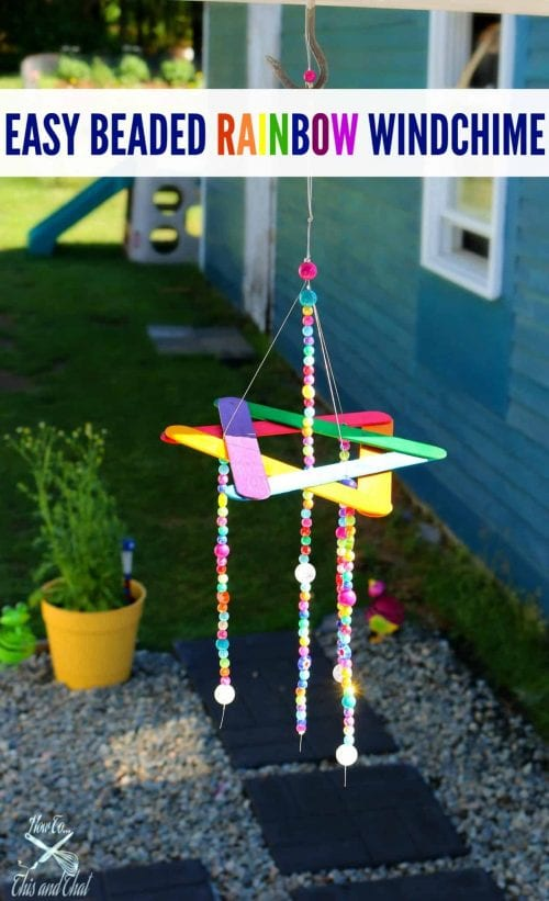Easy Popsicle Stick Crafts featured by top US craft blog: rainbow windchime