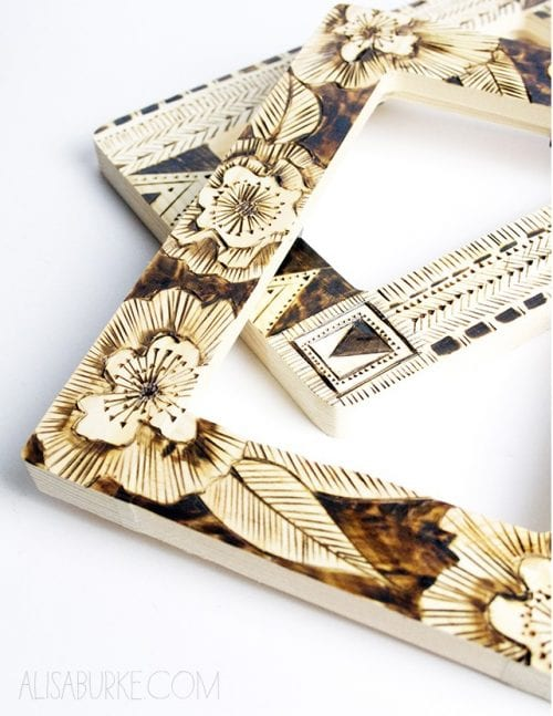 Easy wood burning crafts featured by top US craft blog, The Crafty Blog Stalker: image of wood burned frames