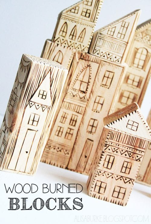 Easy wood burning crafts featured by top US craft blog, The Crafty Blog Stalker: image of wood burned blocks