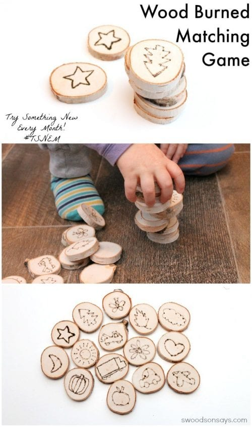 Easy wood burning crafts featured by top US craft blog, The Crafty Blog Stalker: image of wood burning matching game