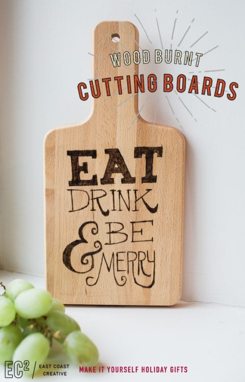 Easy wood burning crafts featured by top US craft blog, The Crafty Blog Stalker: image of wood burnt cutting board
