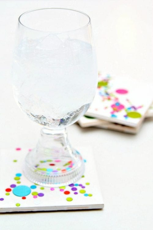 Easy-to-Make DIY Coasters featured by top US craft blog, The Crafty Blog Stalker: image of DIY confetti tile coasters
