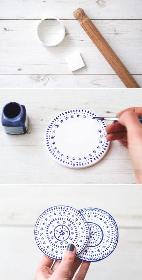 Easy-to-Make DIY Coasters featured by top US craft blog, The Crafty Blog Stalker: image of porcelain paint coasters
