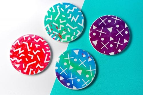 Infusible Ink Projects featured by top US craft blog, The Crafty Blog Stalker: image of party coasters