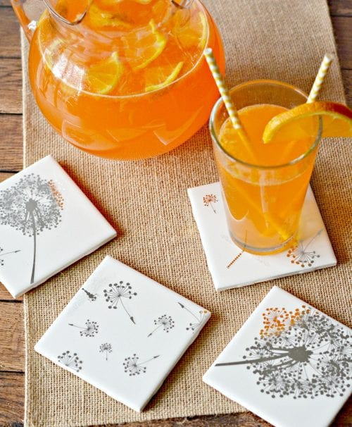 Easy-to-Make DIY Coasters featured by top US craft blog, The Crafty Blog Stalker: image of DIY tile coasters