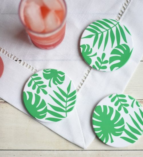 Infusible Ink Projects featured by top US craft blog, The Crafty Blog Stalker: image of tropical leaves coasters
