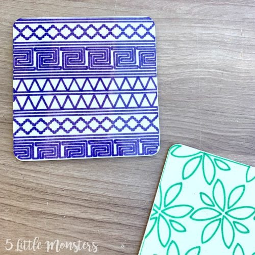 Infusible Ink Projects featured by top US craft blog, The Crafty Blog Stalker: image of infusible ink coasters with pens