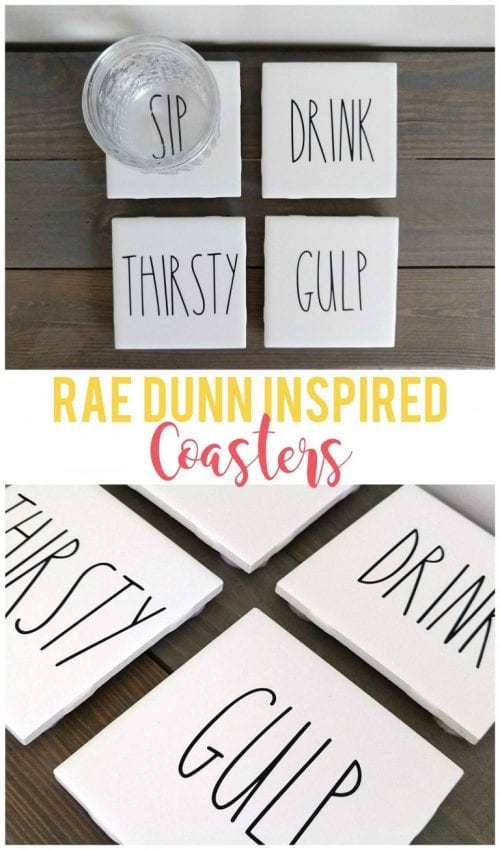 Easy-to-Make DIY Coasters featured by top US craft blog, The Crafty Blog Stalker: image of rae dunn inspired coasters