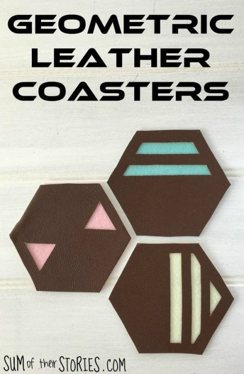 Easy-to-Make DIY Coasters featured by top US craft blog, The Crafty Blog Stalker: image of DIY geometric leather coasters