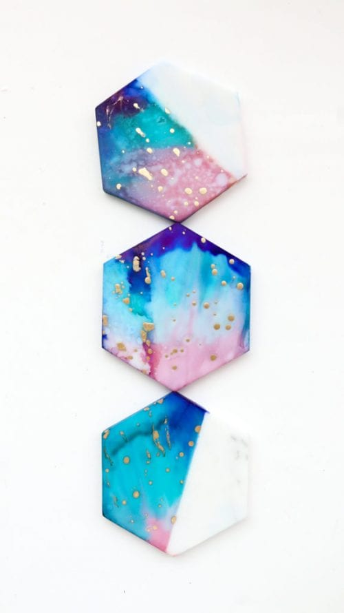 Easy-to-Make DIY Coasters featured by top US craft blog, The Crafty Blog Stalker: image of Galaxy block coasters