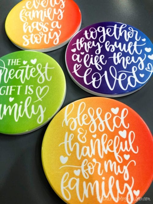 How to Make DIY Ceramic Coasters using Cricut Infusible Ink, a tutorial featured by top US craft blog, The Crafty Blog Stalker