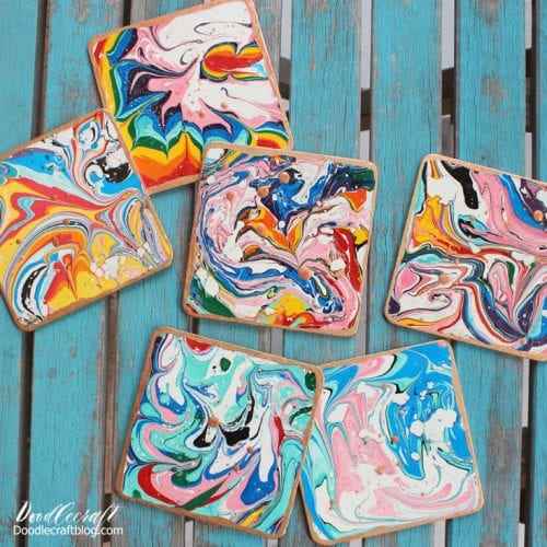 Easy-to-Make DIY Coasters featured by top US craft blog, The Crafty Blog Stalker: image of marble paper coasters