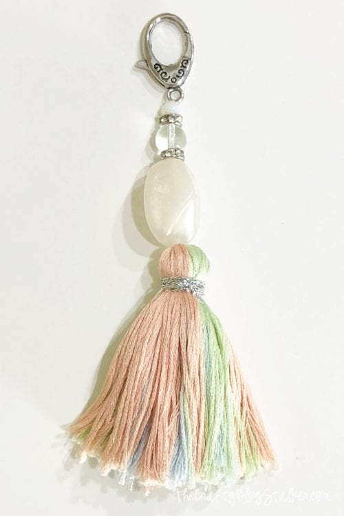 How to Make a DIY Tassel Keychain, a tutorial featured by top US craft blog, The Crafty Blog Stalker.