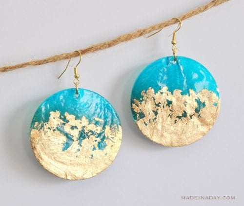 20 Cute Handmade Earrings Ideas featured by top US craft blog, The Crafty Blog Stalker: image of gold gilded earrings