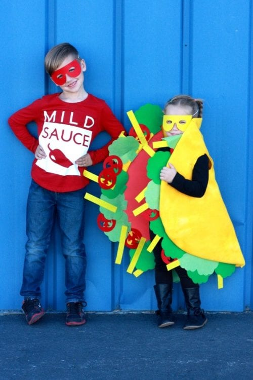 20 Amazing Cricut Halloween Costume Ideas featured by top US craft blog, The Crafty Blog Stalker: tacos and hot sauce costume