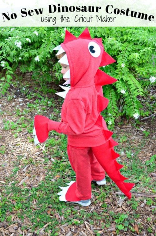 20 Amazing Cricut Halloween Costume Ideas featured by top US craft blog, The Crafty Blog Stalker: no sew dinosaur costume