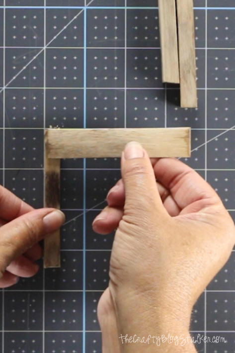 assembling the popsicle pallet coasters