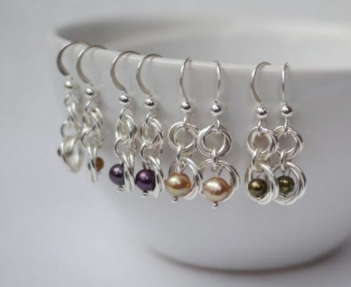 20 Cute Handmade Earrings Ideas featured by top US craft blog, The Crafty Blog Stalker: image of pearl earrings