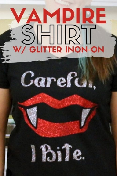 How to Make a Vampire Shirt with Cricut and Glitter Iron-on , a tutorial featured by top US craft blog, The Crafty Blog Stalker.
