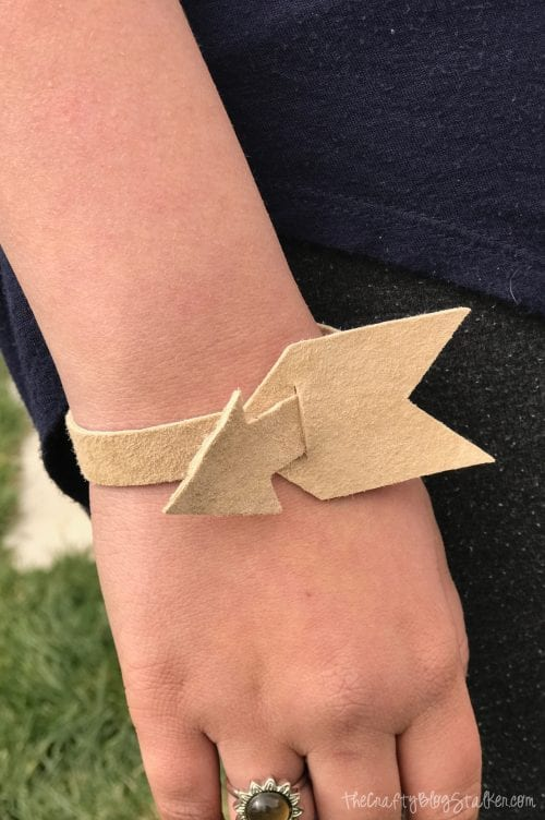 How to Make a DIY Arrow Leather Bracelet with the Cricut Explore Air 2, a tutorial featured by top US craft blog, The Crafty Blog Stalker.