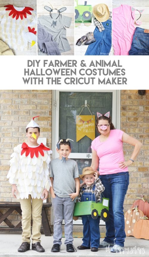 20 Amazing Cricut Halloween Costume Ideas featured by top US craft blog, The Crafty Blog Stalker: farmer and animals costumes
