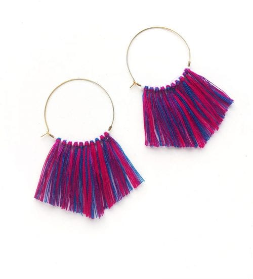 20 Cute Handmade Earrings Ideas featured by top US craft blog, The Crafty Blog Stalker: image of hoop fringe earrings