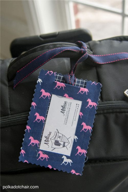 20 No Sew Scrap Fabric Projects featured by top US craft blog, The Crafty Blog Stalker: image of fabric luggage tags