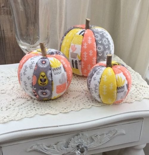 20 No Sew Scrap Fabric Projects featured by top US craft blog, The Crafty Blog Stalker: image of fabric pumpkins