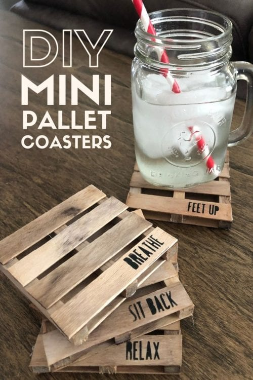 How to Make Mini Pallet Coasters with Popsicle Sticks, a tutorial featured by top US craft blog, The Crafty Blog Stalker.