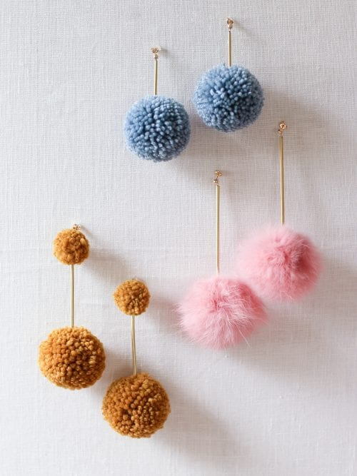 20 Cute Handmade Earrings Ideas featured by top US craft blog, The Crafty Blog Stalker: image of diy pom pom earrings