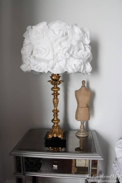 Top 20 DIY Lampshade Ideas to Lighten Up a Room featured by top US craft blog, The Crafty Blog Stalker: image of DIY floral lampshade