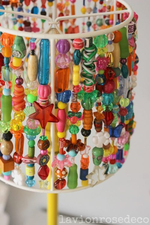 Top 20 DIY Lampshade Ideas to Lighten Up a Room featured by top US craft blog, The Crafty Blog Stalker: image of beaded lampshade