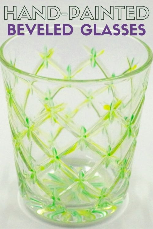 How to Make Hand-Painted Beveled Glasses, a tutorial featured by top US craft blog, The Crafty Blog Stalker