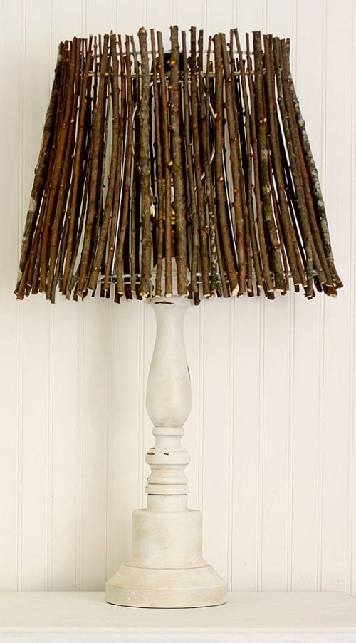 Top 20 DIY Lampshade Ideas to Lighten Up a Room featured by top US craft blog, The Crafty Blog Stalker: image of twig lampshade