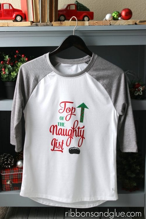 20 Handmade DIY Christmas Shirts for Adults featured by top US craft blog, The Crafty Blog Stalker: Naughty List Christmas Shirt
