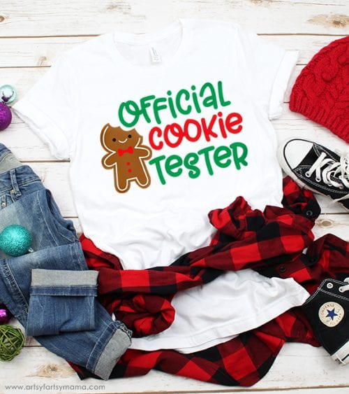 20 Handmade DIY Christmas Shirts for Adults featured by top US craft blog, The Crafty Blog Stalker: Official Cookie Tester Shirt