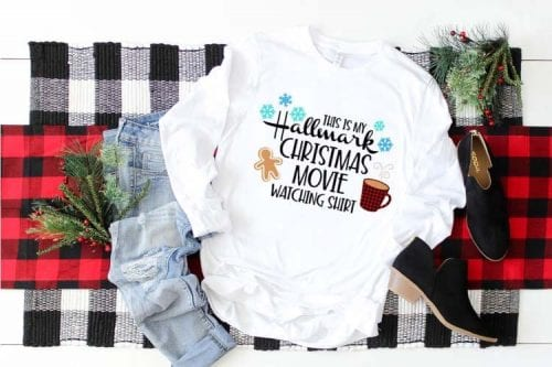 20 Handmade DIY Christmas Shirts for Adults featured by top US craft blog, The Crafty Blog Stalker: Hallmark Christmas Movie Watching Shirt