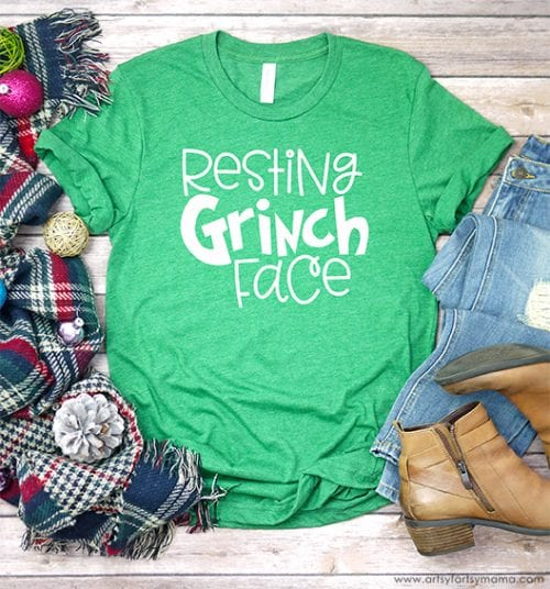 20 Handmade DIY Christmas Shirts for Adults featured by top US craft blog, The Crafty Blog Stalker: Resting Grinch Face