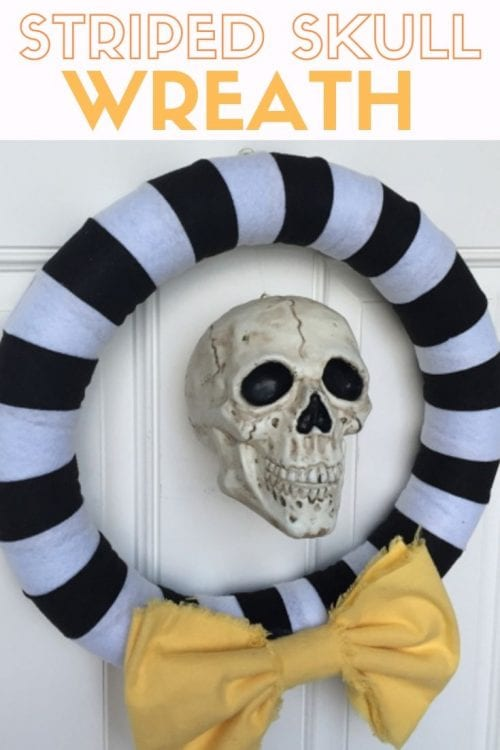 How to Make a Striped Halloween Wreath, a tutorial featured by top US craft blog, The Crafty Blog Stalker.