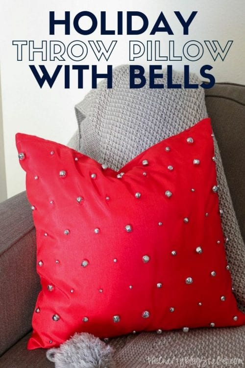 How to Make a DIY Holiday Throw Pillow with Bells, a tutorial featured by top US craft blog, The Crafty Blog Stalker.