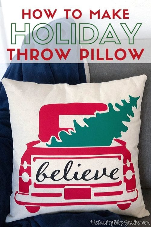 DIY Holiday Throw Pillow tutorial featured by top US craft blog, The Crafty Blog Stalker.