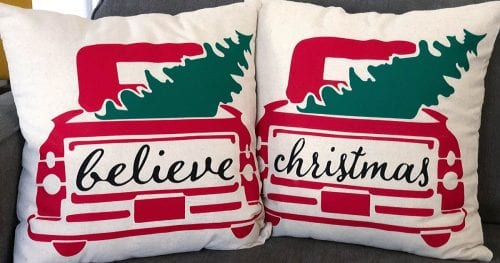 DIY Holiday Throw Pillow tutorial featured by top US craft blog, The Crafty Blog Stalker.r: holiday throw pillows