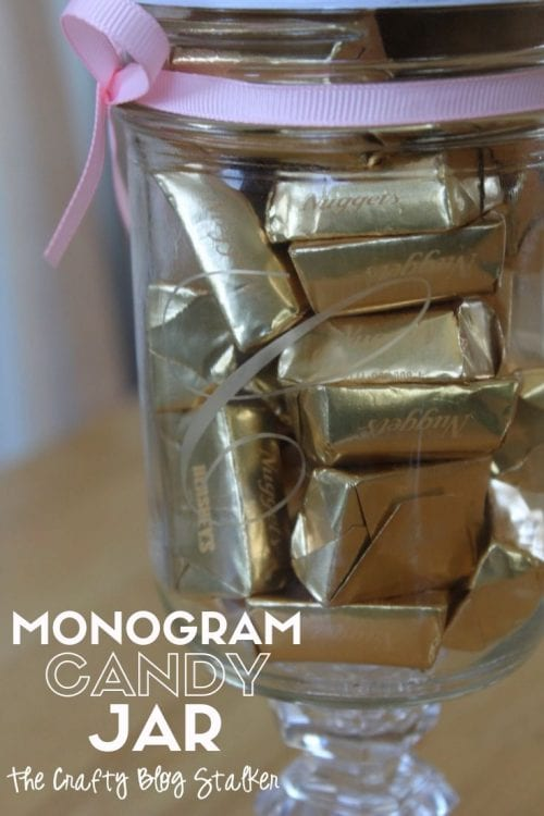 How to Make a Monogram Candy Jar, a tutorial featured by top US craft blog, The Crafty Blog Stalker.